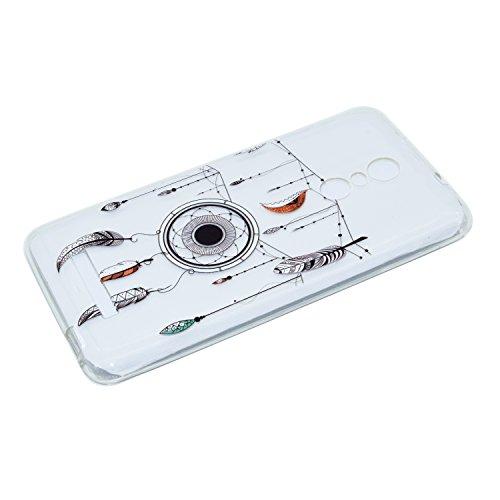 Funda Carcasa Transparente Silicona para Xiaomi Redmi 4[con Gratis Pantalla Protector],KaseHome Único Patrón de Colores Diseño Cristal Claro Ultra Delgado Suave Durable Caucho Parachoque Alta Resisten Atrapasueños y Pluma