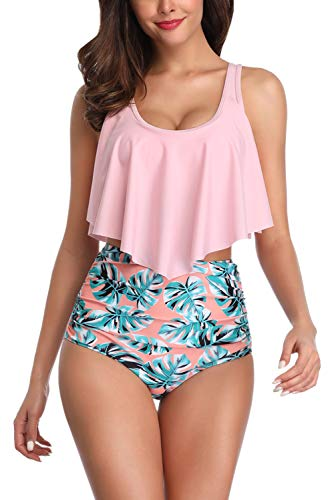 Women's Two Piece Bikini Sets High Waisted Swimsuits Bathing Suits for Women Tummy Control Ruffled Top with Swim Bottom (High Top Swim Suits Women)