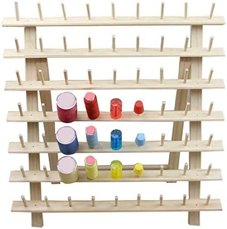 Hapshop 63 Spool Wood Sewing Thread Stand Organizer Embroidery Storage Rack Holder Bracket