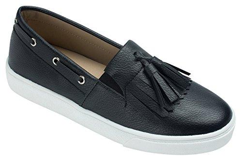 Annakastle Kvinners Pannelugg Dusk Dagdriver Slip-on Moccasin Sneaker Arbeidet Skolen Sko Svart