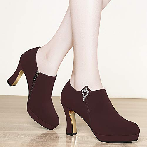 shoes heel Women's Ladies 8CM AJUNR deep Autumn shoes diamond rough and shoes style mouth shoes 6 high heels straight diamond Work rough Claret 66xqrnwO
