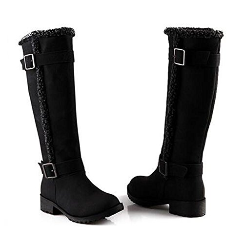 NSXZ Moda de mujer invierno espesamiento Scrub botas altas , black , 36 35-BLACK