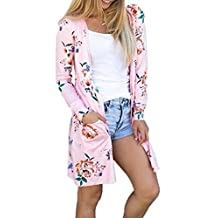 Women's Floral Print Pockets Long Sleeve Cardigans Casual Outwear Tops