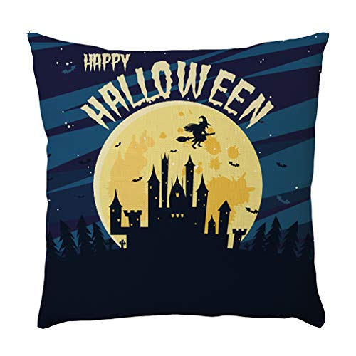 Jocome Throw Pillow Case,Halloween Pillow Cases Linen Pumpkin Ghosts Cushion Cover Home Decoration Canvas Grey King Spring Sure Fit Fluffy Coastal Polyester -