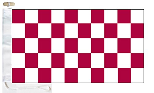 Chequered Maroon and White Check Boat Flag - 1 Yard  - Rope