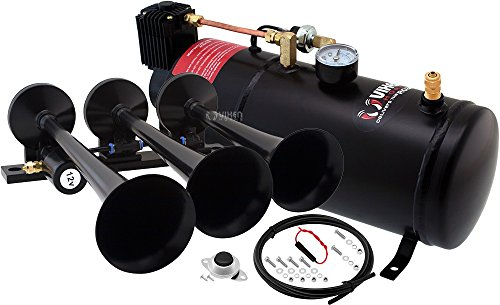 Vixen Horns Loud 149dB 3/Triple Black Trumpet Train Air Horn with 1 Gallon Tank and 150 PSI Compressor Full/Complete Onboard System/Kit VXO8210/3118B