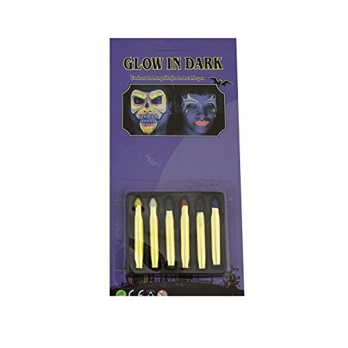 Deco4Fun Halloween Stage Makeup Kit for Face Body Painting Vampire Witch Monster Costume (Set of 6 Glow-in-the-Dark Makeup Sticks) - Glow In The Dark Makeup Sticks