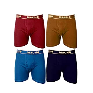 41suJ8C1t3L. SS320 Macho Men's Long Cotton Fine Trunk Pack of 4 (Multi Color )