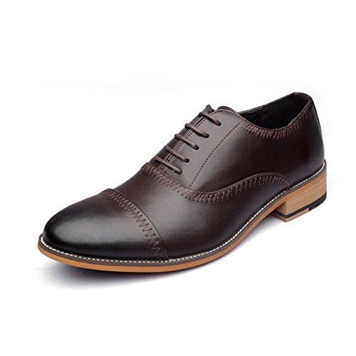 LEDLFIE Printemps Hommes D'affaires en Cuir Chaussures Slope Respirant Bullock Sculpté Hommes Chaussures Casual Chaussures Brown bU8Xdd6dIb