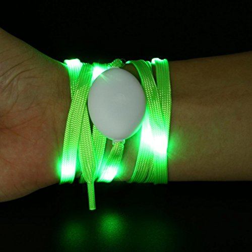 Shoelaces , Hunpta Colorful LED Change Shoelace Luminous Glow Light Up Nylon Strap Night Club Party Green