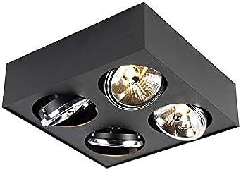 Qazqa Moderne Plafonnier Spot Design Carre 4 Lumieres Noir Kaya
