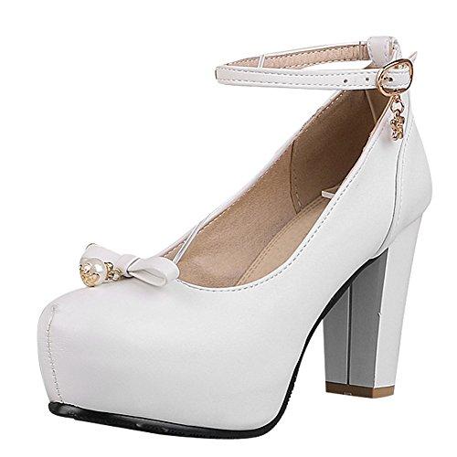 Mee Shoes Damen Blockabsatz inner Plateau runde Pumps Weiß