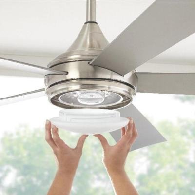Hanlon 52 in. LED Indoor/Outdoor Stainless Steel Brushed Nickel Ceiling Fan by Home Decorators Collection (Image #3)