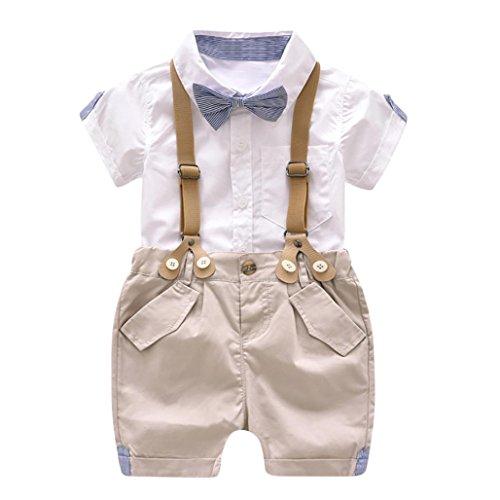 Old Gate - Lisin Kids Baby Boys Summer Gentleman Bowtie Short Sleeve Shirt+Suspenders Shorts Set (White, Size:12Months)
