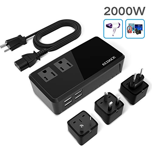 (Silent Version) ECOACE 2000W Step Down 220V to 110V Voltage Converter for Hair Dryers with 4-Port USB, International Travel Adapters Fit for over 150 Countries US,UK,Europe, Asia,Africa etc.