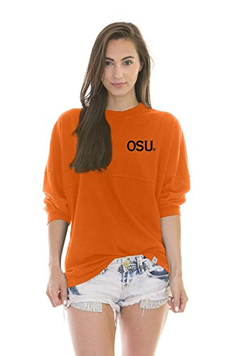 NCAA Oklahoma State Cowboys Women's Jade Long Sleeve Football Jersey, Neon Orange, Large
