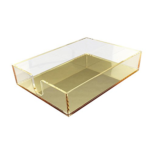 OnDisplay Luxe Acrylic Notepad Tray - Gold Mirror Acrylic Notepad