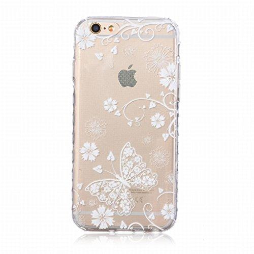 Pour iphone 6 Plus / 6S Plus (5.5inch) Coque Etui, Ougger Mode Papillon Mince TPU Caoutchouc Silicone Transparent Protecteur Bumper l¨¦ger Skin Housse