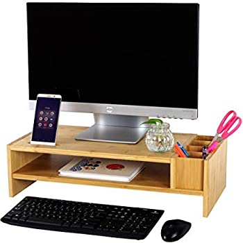 2-Tier Bamboo Monitor Stand | Wood Computer Monitor Riser | Wooden Desk Organizers | Laptop Shelf with Adjustable Storage Accessories | Olive Oak Concepts