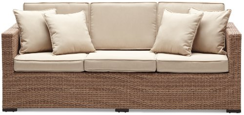 Amazon.com: Strathwood Griffen All Weather Wicker 3 Seater Sofa, Natural:  Garden U0026 Outdoor