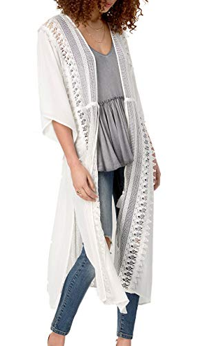 American Rag Cie | Long Crochet Trim Dress | Egret from AMERICAN RAG CIE