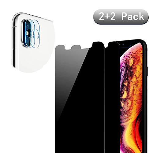 [4 Pack] iPhone Xs Max Anti-Spy Screen Protector Glass and Camera Lens Protector,Full Coverage iPhone Xs Max Tempered Glass Privacy Screen Protector [Case Friendly] [Bubble-Free]