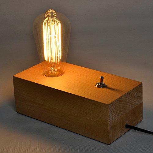 Injuicy Lighting Loft Vintage Industrial Table Light Edison Log Wood