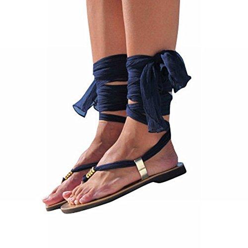 Larghi Flat Sandali Flop Flip Blu con Cinturini YTTY BAfxFx