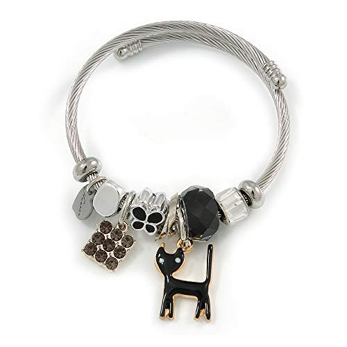 Avalaya Fancy Charm (Heart, Kitty, Butterfly, Crystal Beads) Flex Twisted Cable Cuff Bracelet in Silver Tone Metal (Black) - Adjustable - 17cm L