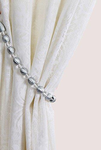 Set of 2 Stylish Rayon Bead with Crystal Bead Drape Curtain Tiebacks Holdbacks, 28