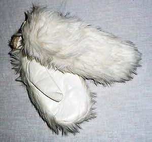 Manoplas de colour blanco de piel sintética de diseño vintage de pelo diseño de piel de nylon 60s 60er en perfecto estado