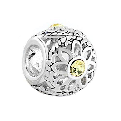 LilyJewelry Open Daisy Flower Charm Beads For Bracelets
