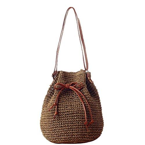 Donalworld Lady Korean Woven Bucket Bag Drawstring Hobo Small Straw Shoulder Bag Coffee
