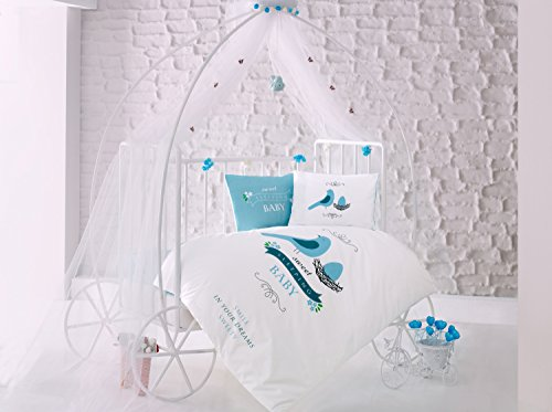 Sweet Sleep Birds Blue Baby Cot Bed Duvet Cover Set, 100% Cotton Soft and Healthy 4-Pieces Bedding Set by TI Home
