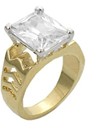 10.8 cw CZ, Gold Overlay Clear CZ Ring
