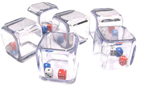 Custom & Unique {Big Large 25mm} 6 Ct Pack Set of 6 Sided [D6] Square Cube Shape Playing & Game Dice Made of Plastic w/ Rounded Corner Edges w/ Fun Crazy Miniature Design [Red, Blue, White or Black] by mySimple Products