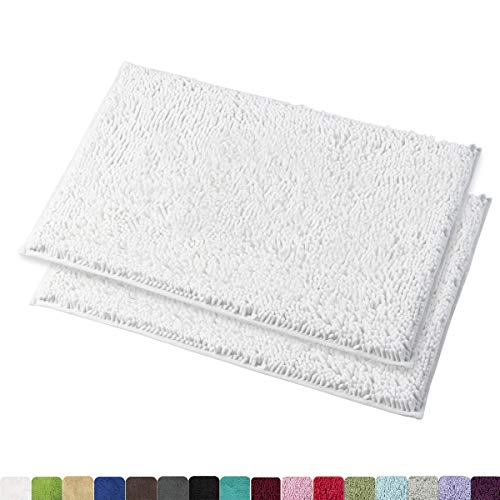 MAYSHINE 16×24 Inches Non-Slip Bathroom Rug Shag Shower Mat Machine-Washable Bath Mats with Water Absorbent Soft Microfibers, 2 Pack, White