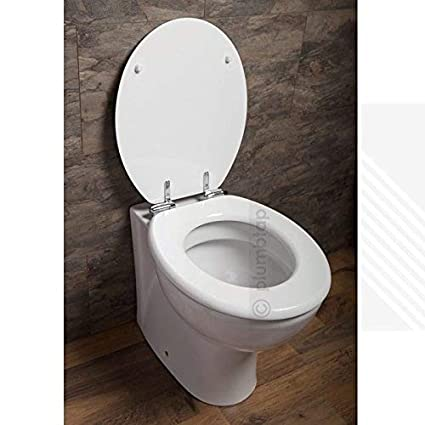Amazing Toilet Seat White High Gloss Soft Close Mdf Chrome Metal Bottom Fixing Hinges Onthecornerstone Fun Painted Chair Ideas Images Onthecornerstoneorg