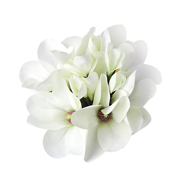 LSME Artificial Magnolia Flowers Bouquet with Long Stems Green Leaves for Wedding Bridal Bouquet DIY Craft Wreath Ornament White