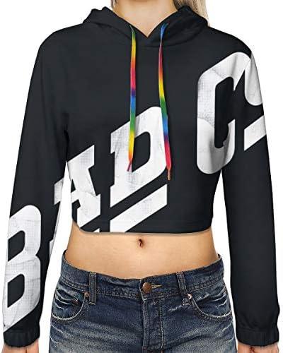 Bad Company Women's Print長袖クロップトップスウェットパーカースポーツジムオフィススクール