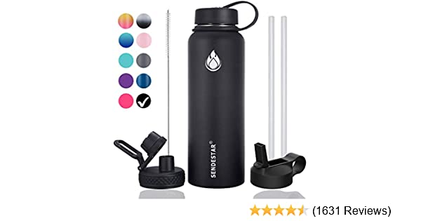 Sendestar 32 oz or 40 oz Double Wall Vacuum Insulated Leak Proof Stainless Steel Sports Water Bottle /—Wide Mouth with Straw Lid /& Flex Cap /& Spout Lid