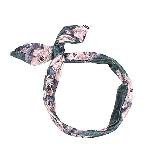 NEEKEY Womens Headbands Women Printed Velvet Cloth Rabbit Ears Hair Band Foldable Steel Headband(Free Size,Green) -