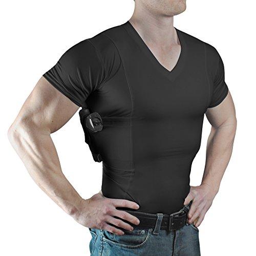 ConcealmentClothes Men's V-Neck Undercover- Concealed Carry Holster Shirt (X-Large, Black)