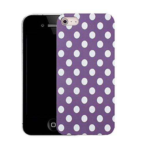 Mobile Case Mate IPhone 5S clip on Silicone Coque couverture case cover Pare-chocs + STYLET - purple spots motif pattern (SILICON)