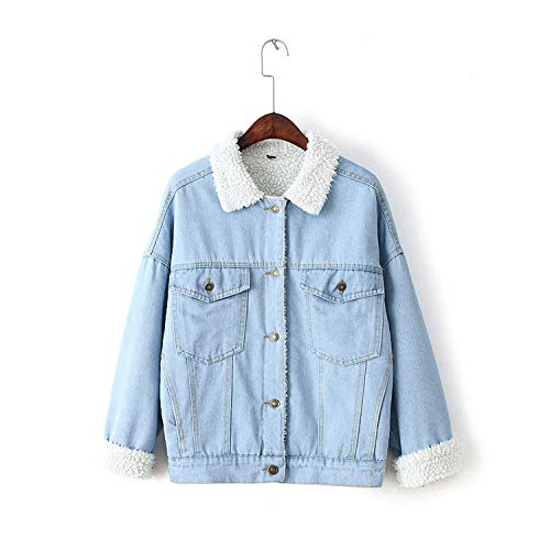 Pockets Bomber Comradesn Washed Lining with Sleeve Fur Long Warm Thick Winter Coat Button Jeans Denim Fur Flap Jacket Women With Jacket Front Jacket Blue qn4fSwxn