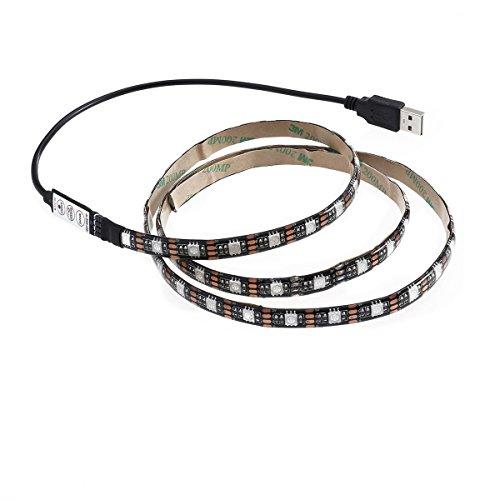 LEDMOMO 1 m Powered USB LED Strip Lights Luz de la cuerda impermeable RGB LED Strip Light con cable de control USB para TV...