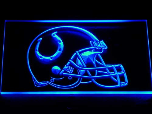 TeroLED Indianapolis Colts Helmet 30cm x 20cm Led 3D Engraved Neon Sign - Neon Signs Colts