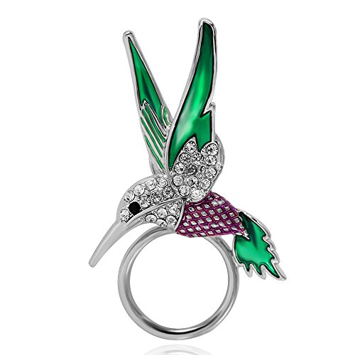BEICHUANG Hummingbird Strong Magnetic Eyeglass Sunglass Holder Green Purple Bird Brooch Pin(silver) (Pin Silver Bird)