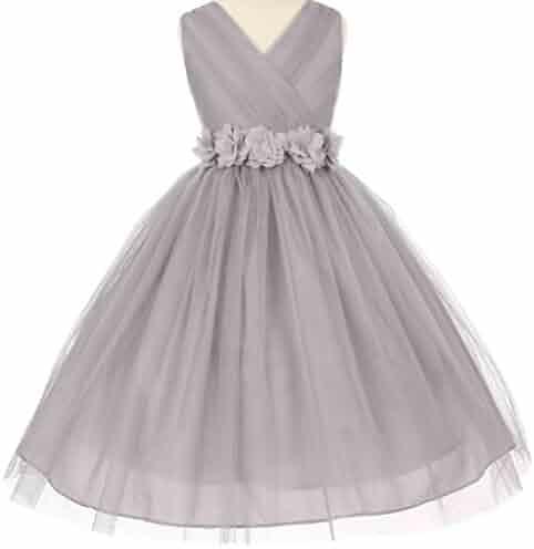 5ba0defc3d8 Little Girls Silver V Neck Removable Floral Sash Flowers Girls Dresses