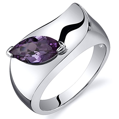 - Musuem Style Marquise Cut 1.25 carats Simulated Alexandrite Ring in Sterling Silver Rhodium Nickel Finish Size 7, Available in Sizes 5 thru 9